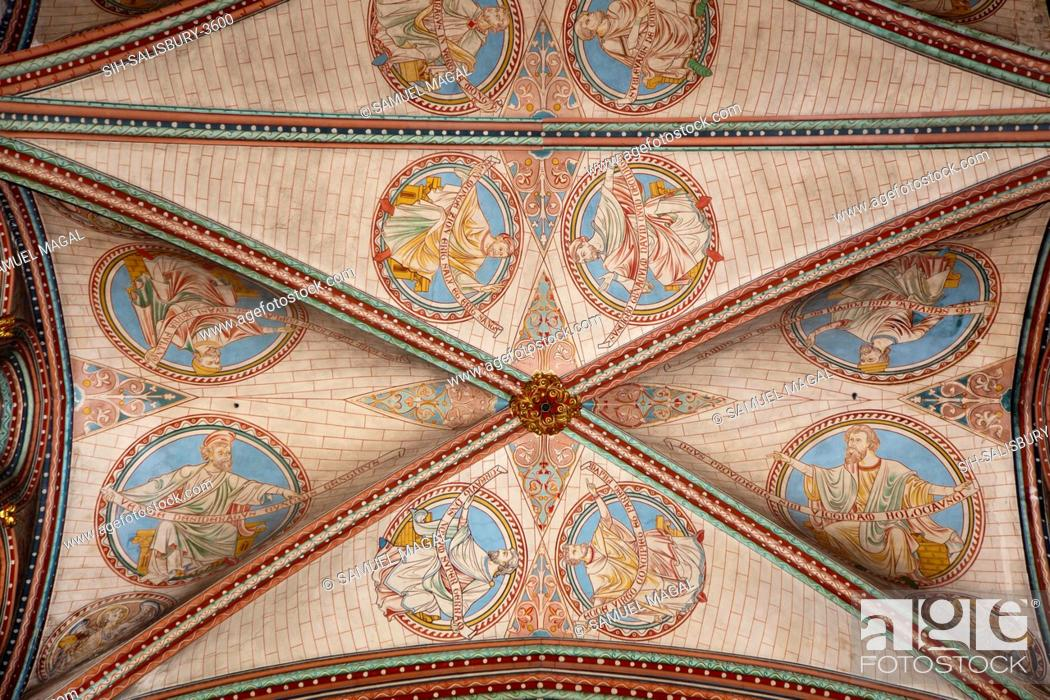 Stock Photo: A quadribbed vaulted ceiling above the choir and Trinity Chapel areas. The construction of the church began in 1220, and it was consecrated in 1258.
