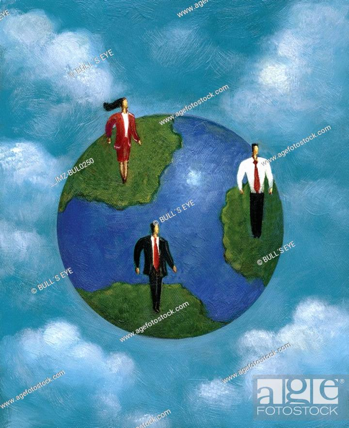 Stock Photo: Three business people standing on different continents of the earth.
