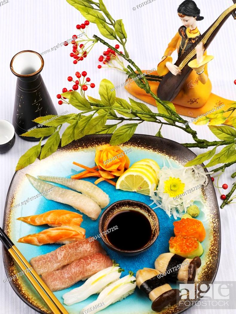 Stock Photo: soy sauce, plate, chopsticks, decoration, food styling, sushi plate.