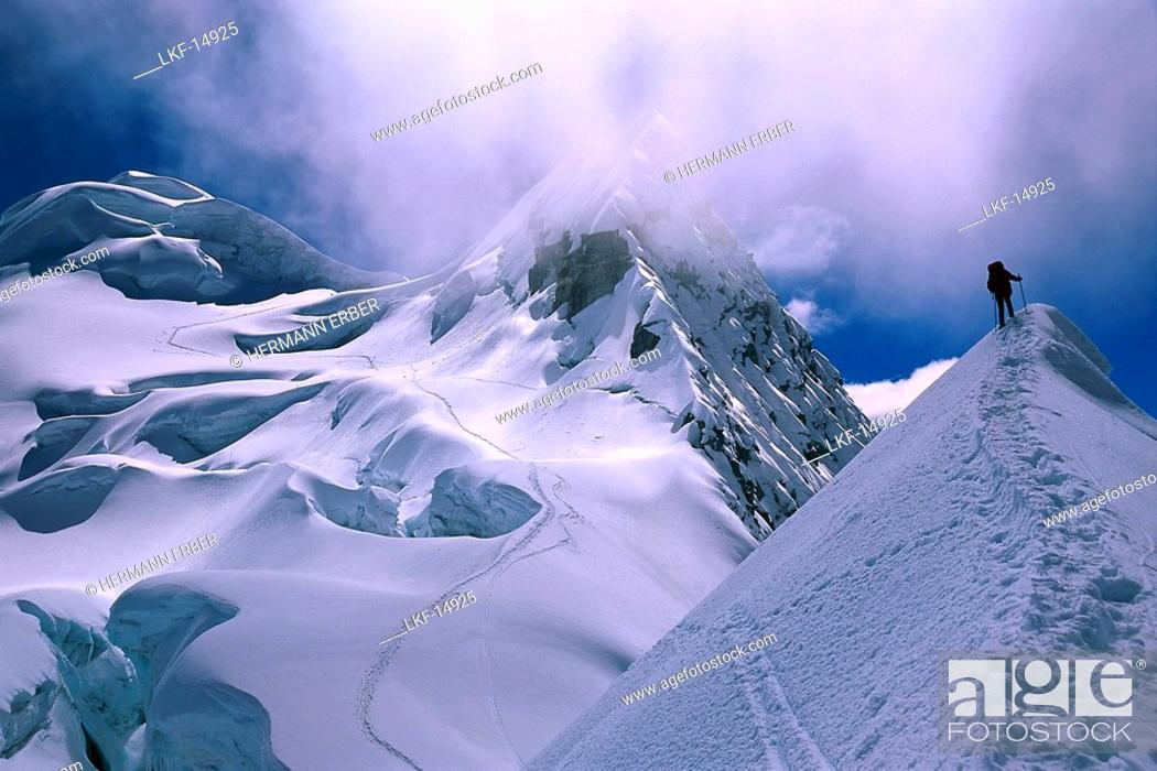 Stock Photo: Mountaineer ascending Vallunaraju Mountain 5.686m, Cordillera Blanca, Peru.