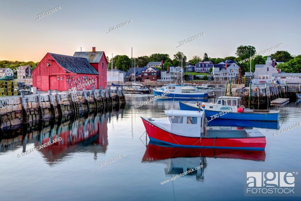 Stock Photo: The quintessential New England Motif Number One sunrise. Located on Bradley Wharf in the harbor town of Rockport. Motif Number One has been a long time favorite.