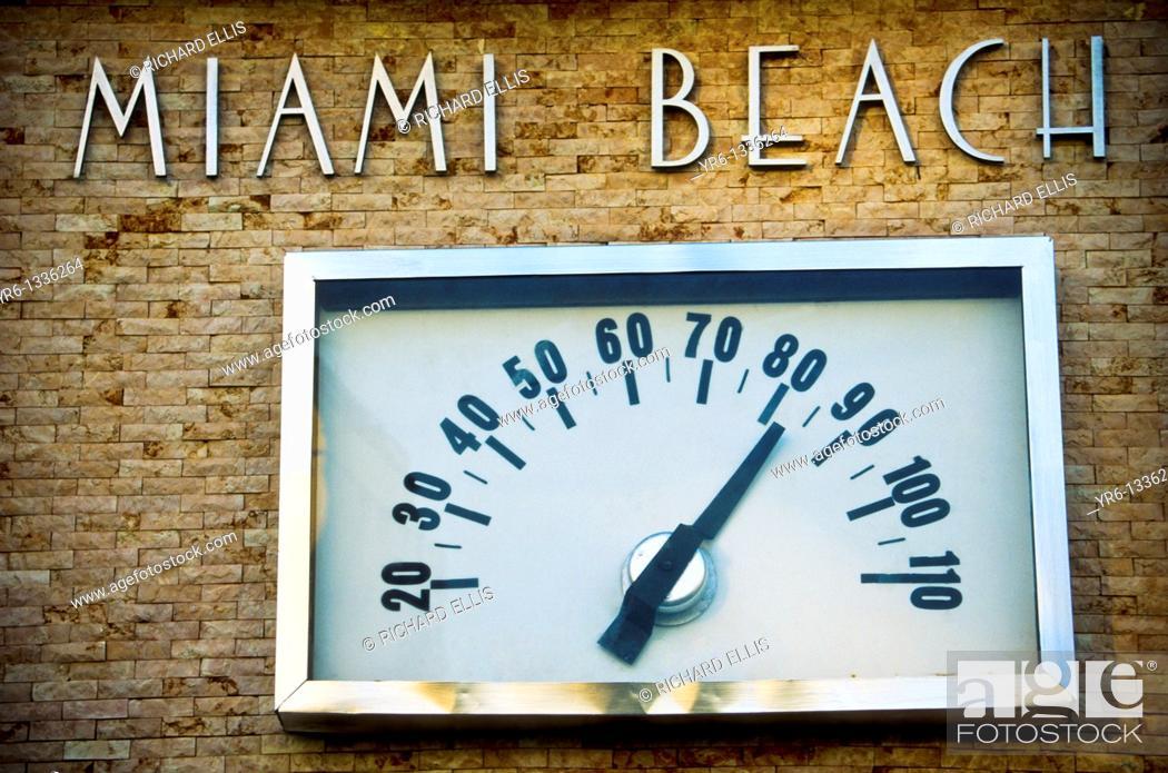 Stock Photo: Winter day Miami Beach thermometer.