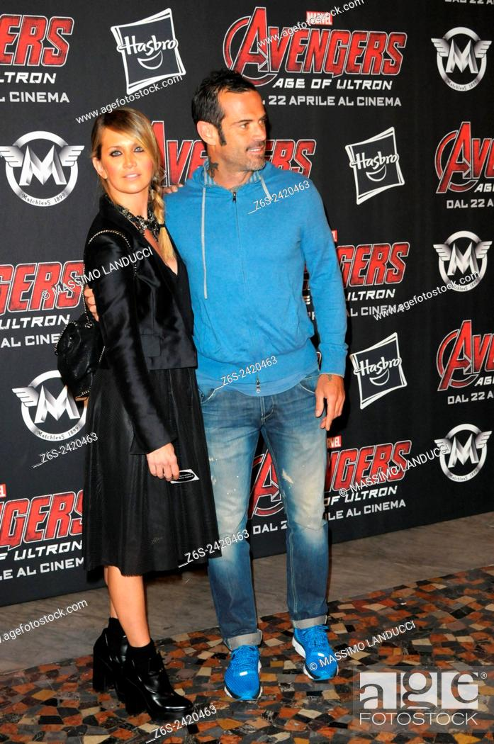 Stock Photo: Ascanio Pacelli ; Katia Pedrotti ; celebrities; 2015;rome; italy;event; red carpet ; avengers, age of ultron.