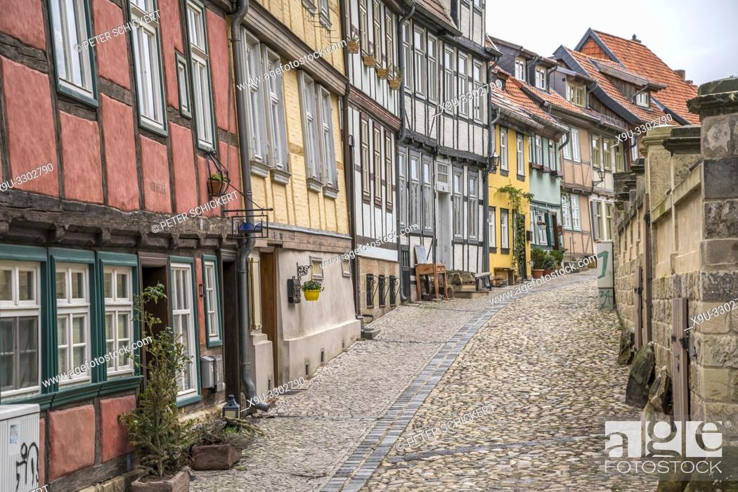 Stock Photo: Timber frame at the old part of town, Quedlinburg, Saxony- Anhalt, Germany.