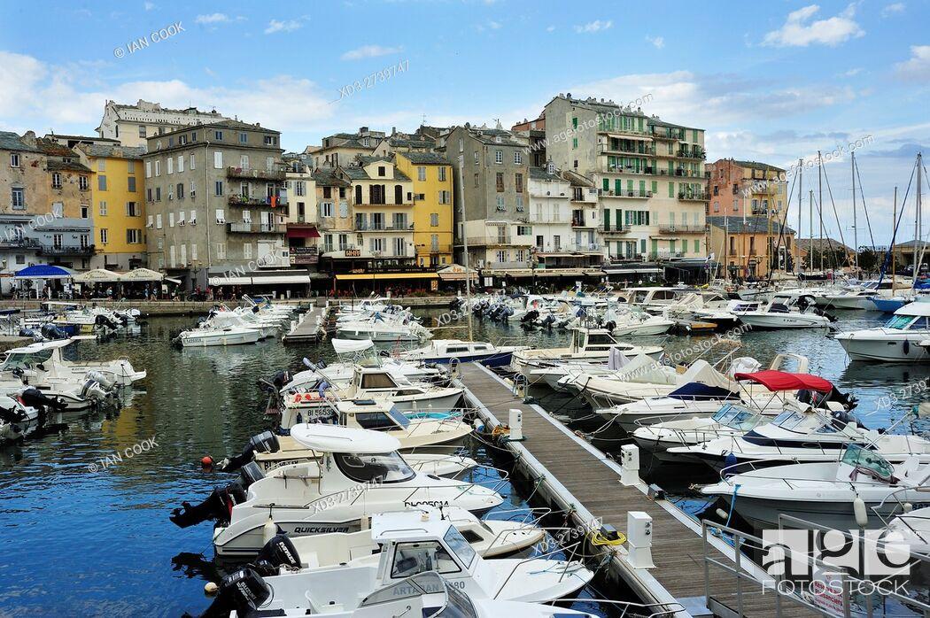 Stock Photo: Old Port, Bastia, Corsica, France.