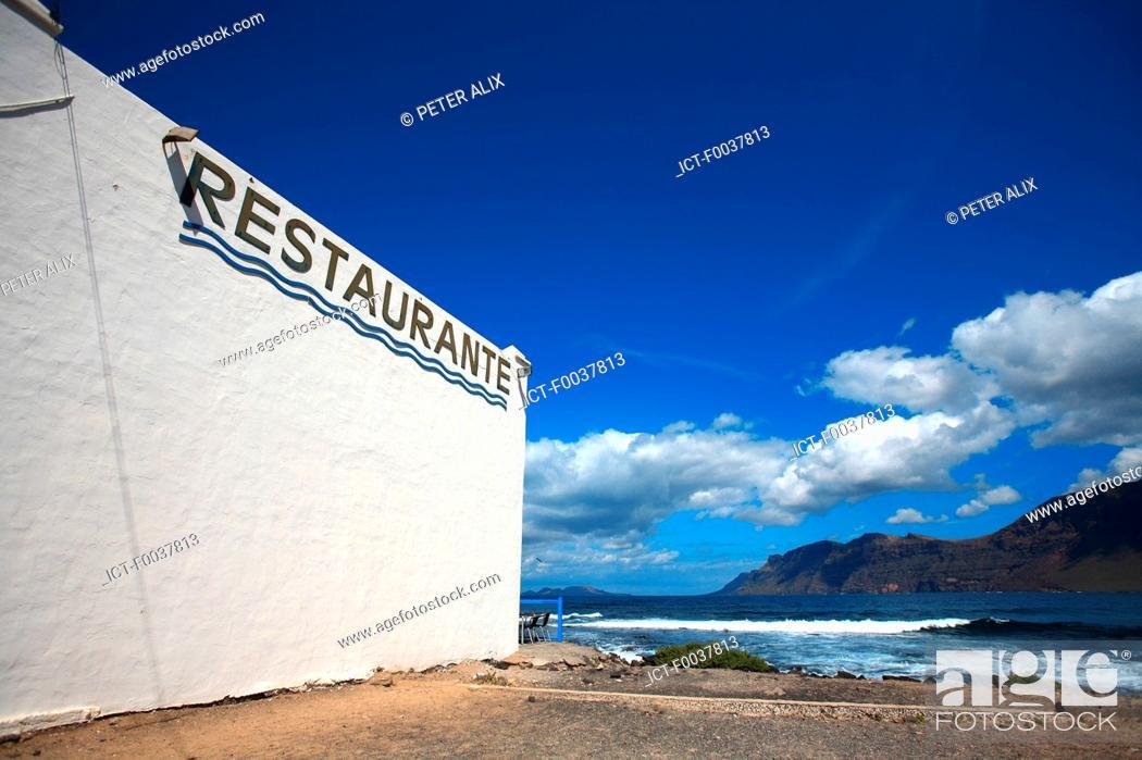 Stock Photo: Spain, Canary islands, Lanzarote, Caleta de Famara.