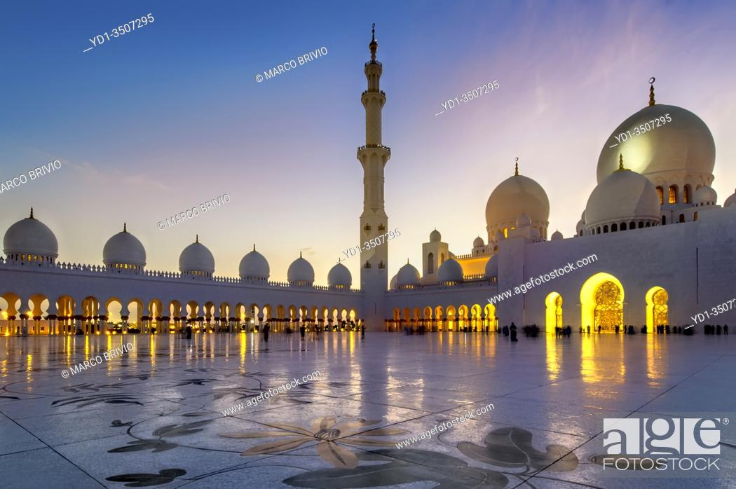 Stock Photo: Abu Dhabi. United Arab Emirates. Sheikh Zayed Grand Mosque at dusk. . January 2020.