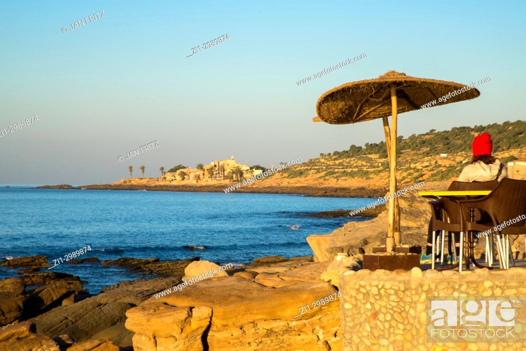 Stock Photo: Small terrace at Taghazout with view at the sea, Maroc.