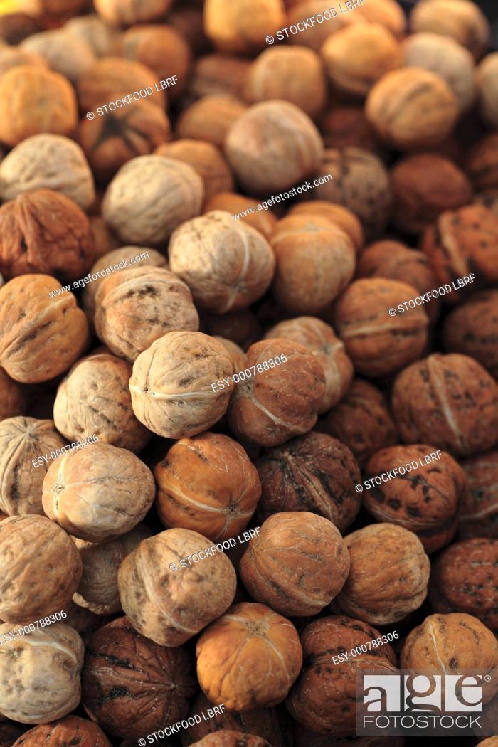 Stock Photo: Many Whole Walnuts.