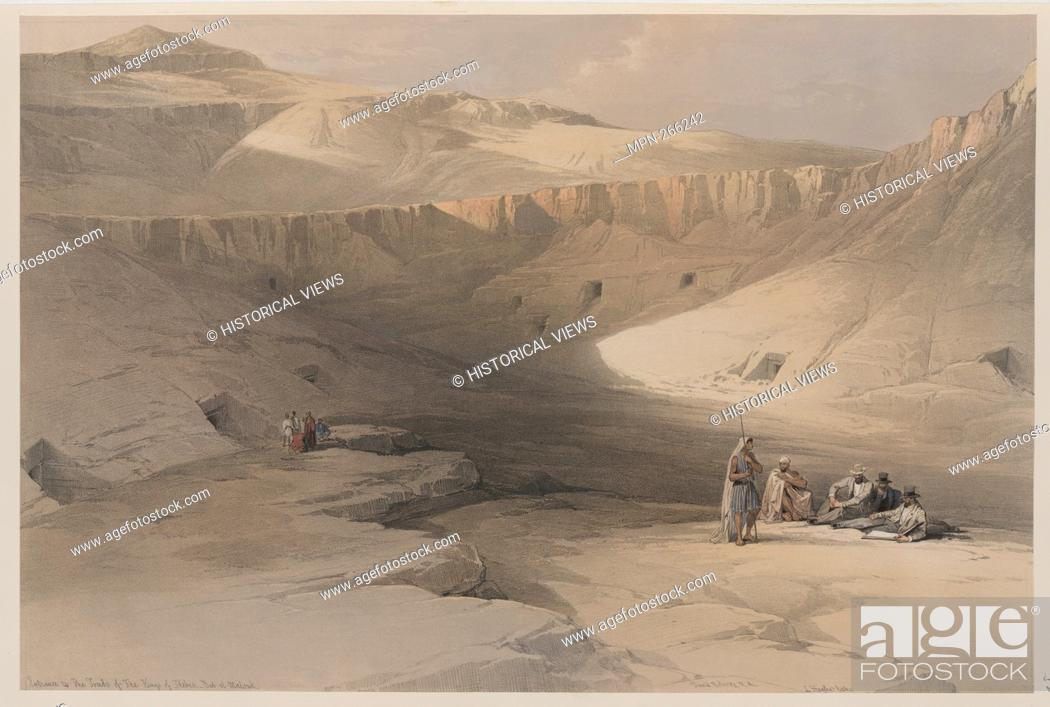 Stock Photo: Entrance to the tombs of the kings of Thebes. Bab-el-Malouk [Bîbân al-Mulûk]. Additional title: Entrance to the tombs of the kings, Baban-el-Molook.