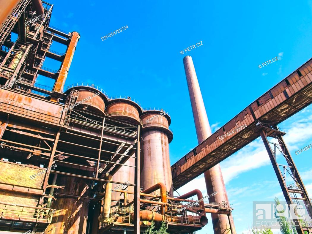 Stock Photo: View of the old blast furnace of the metallurgical plant.