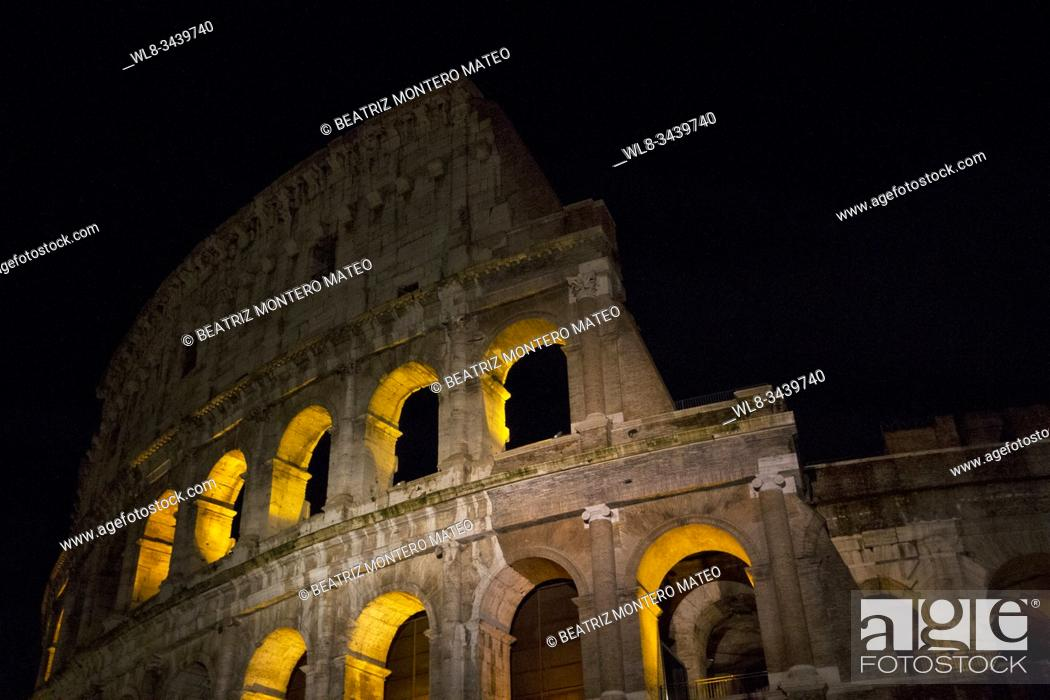 Stock Photo: Rome Colosseum at night (Italy).