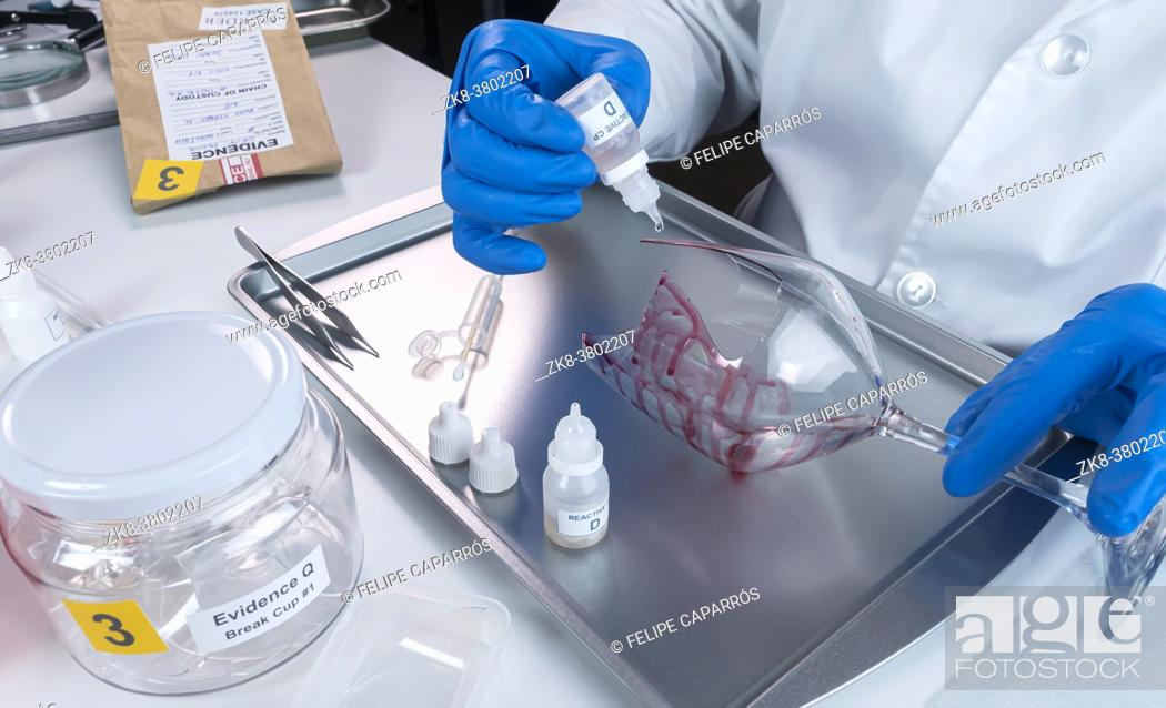 Stock Photo: Police expert gets blood sample from a broken glass bottle in Criminalistic Lab, conceptual image.
