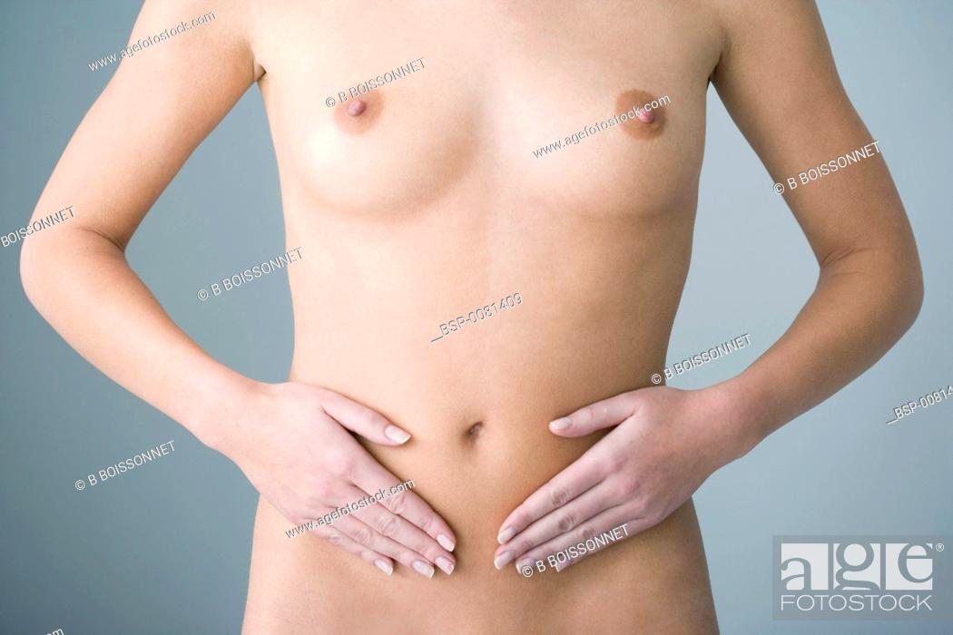 Stock Photo: ABDOMINAL PAIN IN A WOMAN Model.