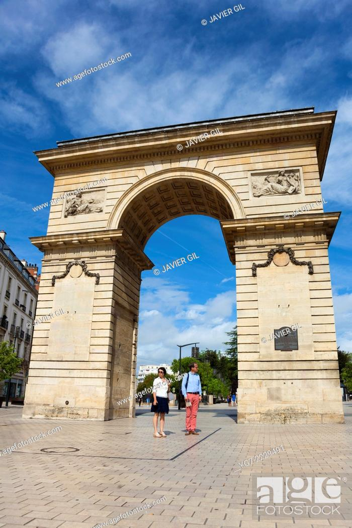 Stock Photo: Porte Guillaume and Place Darcy, Dijon, Burgundy, France.
