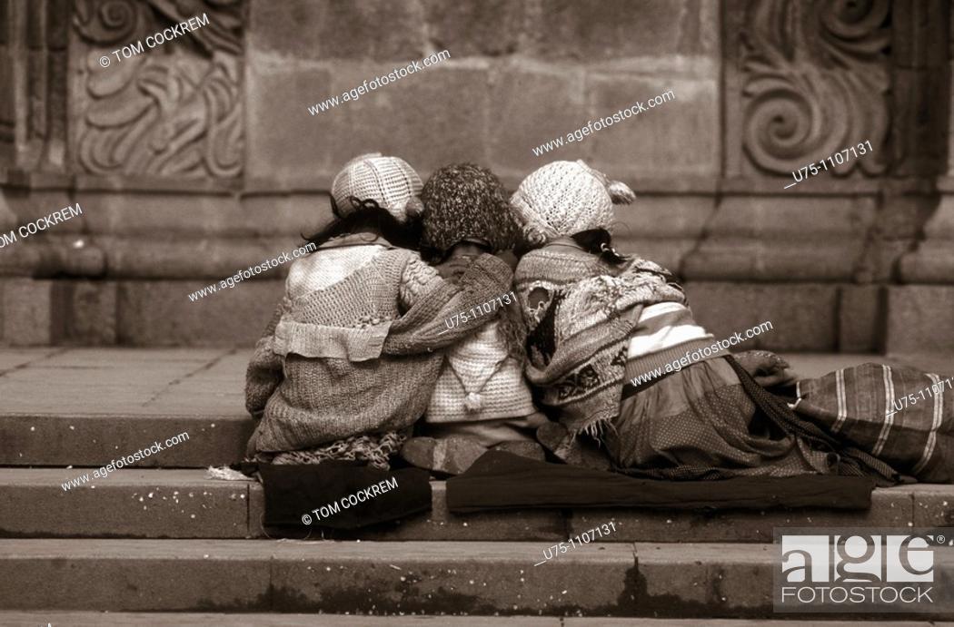 Stock Photo: Young girls outside san francisco monastery la paz bolivia.
