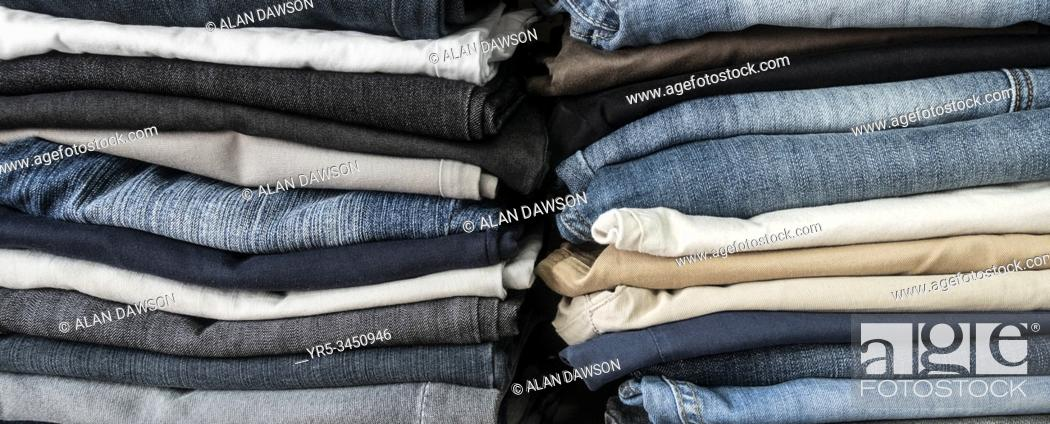 Stock Photo: Second hand denim jeans charity shop in Spain.