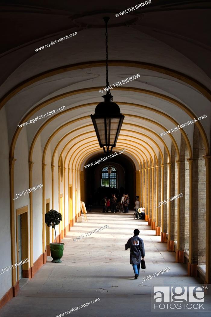 Stock Photo: France, Saone-et-Loire Department, Burgundy Region, Maconnais Area, Cluny, Cluny Abbey cloisters.