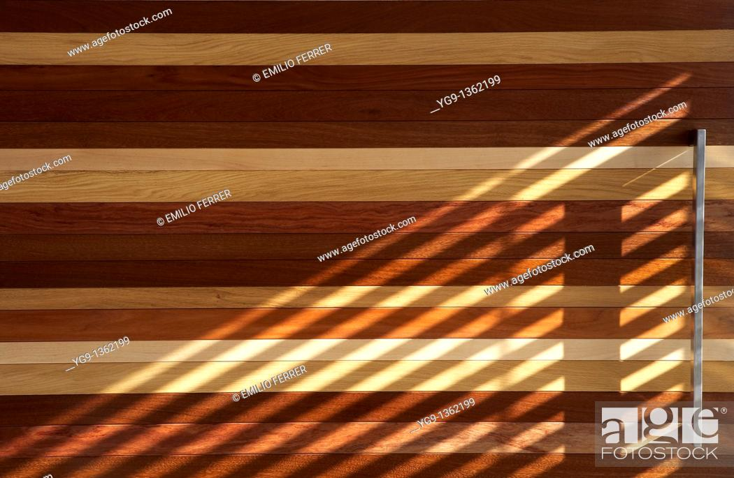 Stock Photo: Detail of a Wood Door with Reflections  Girona  Spain.