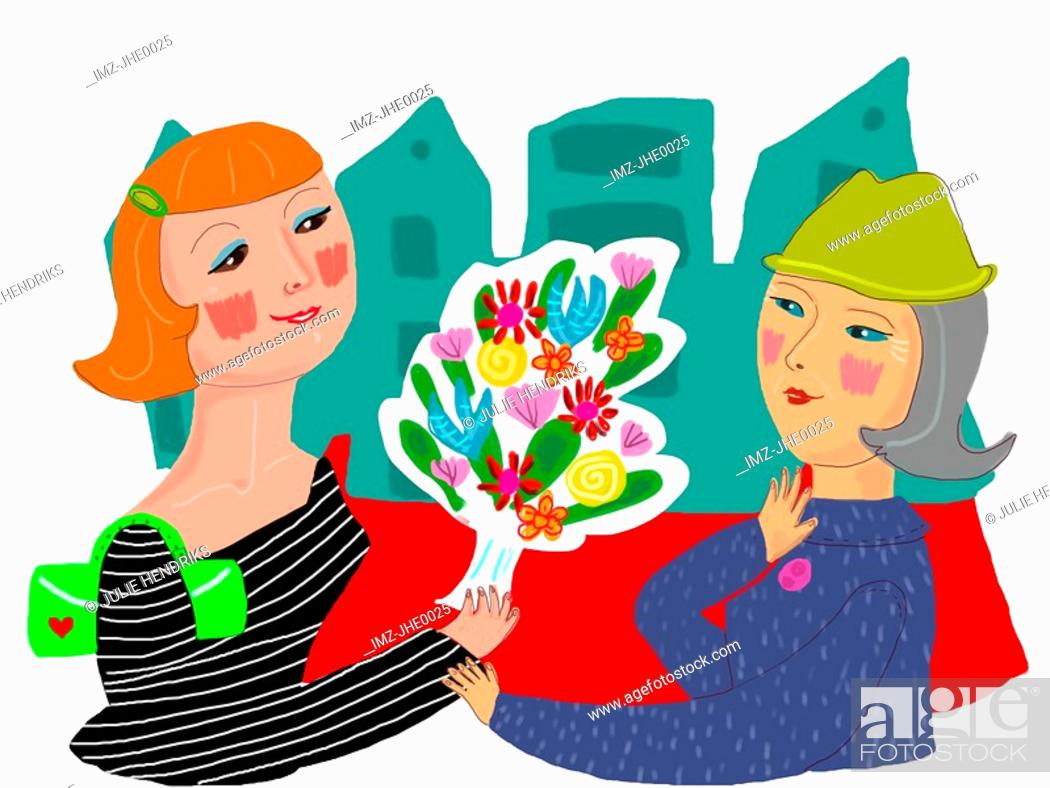 Stock Photo: A woman giving a senior a bouquet of flowers.