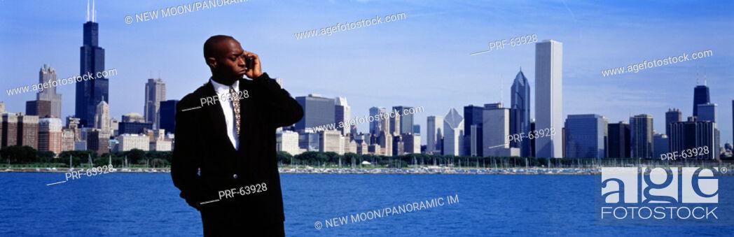 Stock Photo: Businessman Chicago IL USA.