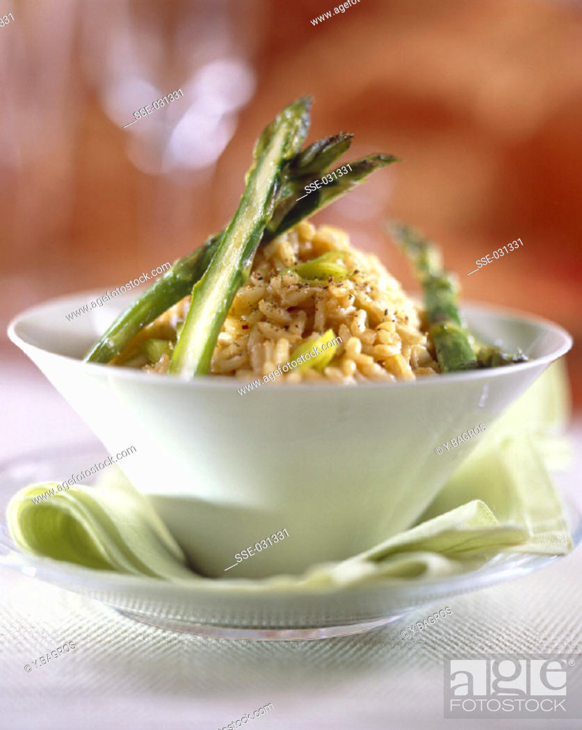 Stock Photo: Lobster bisque risotto with asparagus tips.