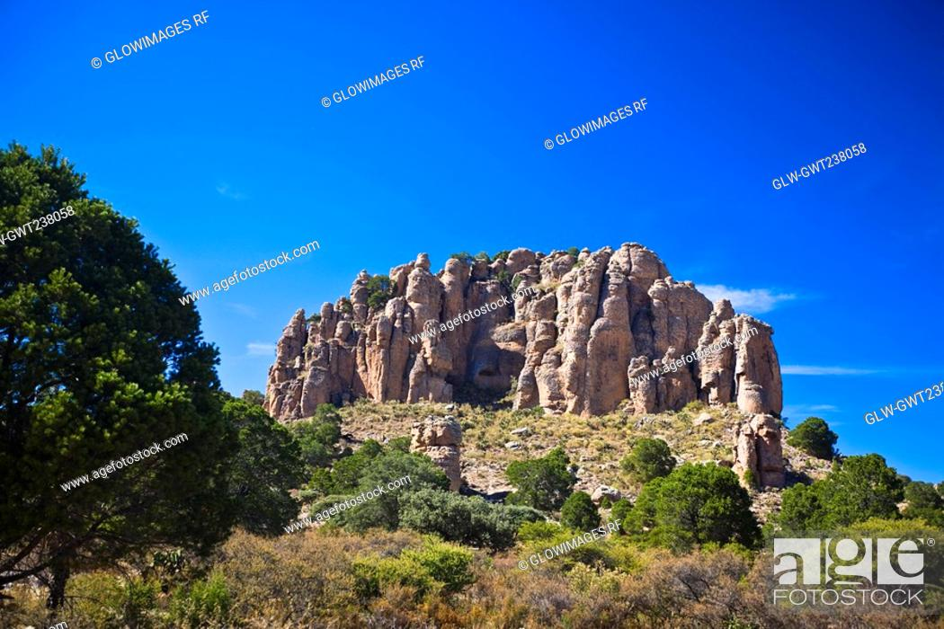 Stock Photo: Low angle view of a rock formation, Sierra De Organos, Sombrerete, Zacatecas State, Mexico.
