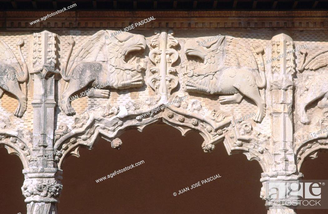 Stock Photo: Detail of Palacio del Infantado (1480-83) by Juan Guas, Guadalajara. Castilla-La Mancha, Spain.