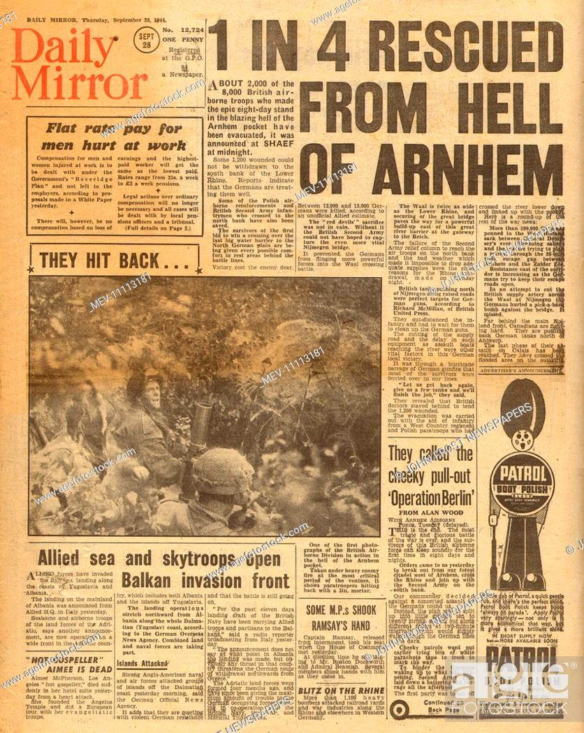 1944 Daily Mirror front page reporting Operation Market