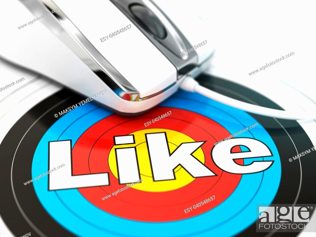 Stock Photo: Like concept. Mouse on the target with tex. DOF effect. 3d.