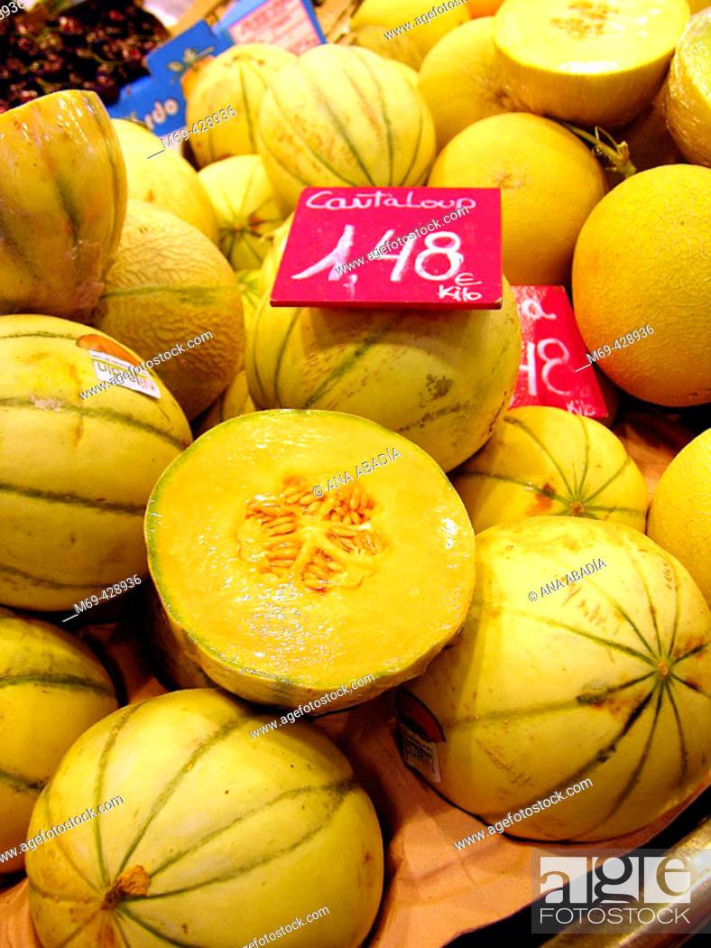 Stock Photo: Cantaloupe for sale in la Boqueria Market. Barcelona. Spain.