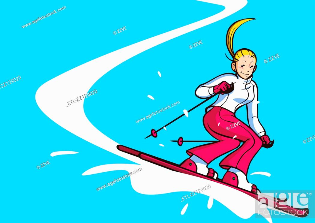 Stock Photo: Low angle view of a woman skiing.