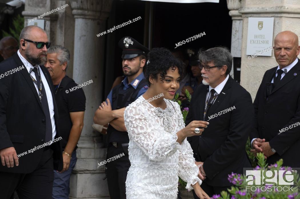 Stock Photo: VENICE, ITALY - SEPTEMBER 02: Tessa Thompson is seen arriving at the 76th Venice Film Festival on September 02, 2019 in Venice, Italy.