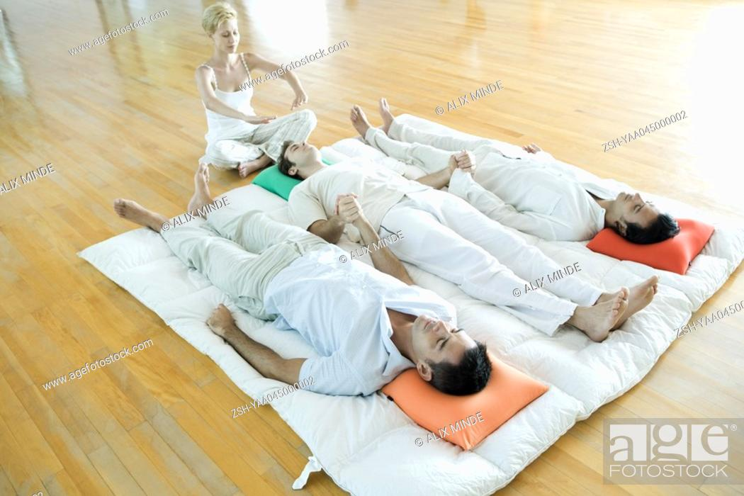 Stock Photo: Group energy therapy.