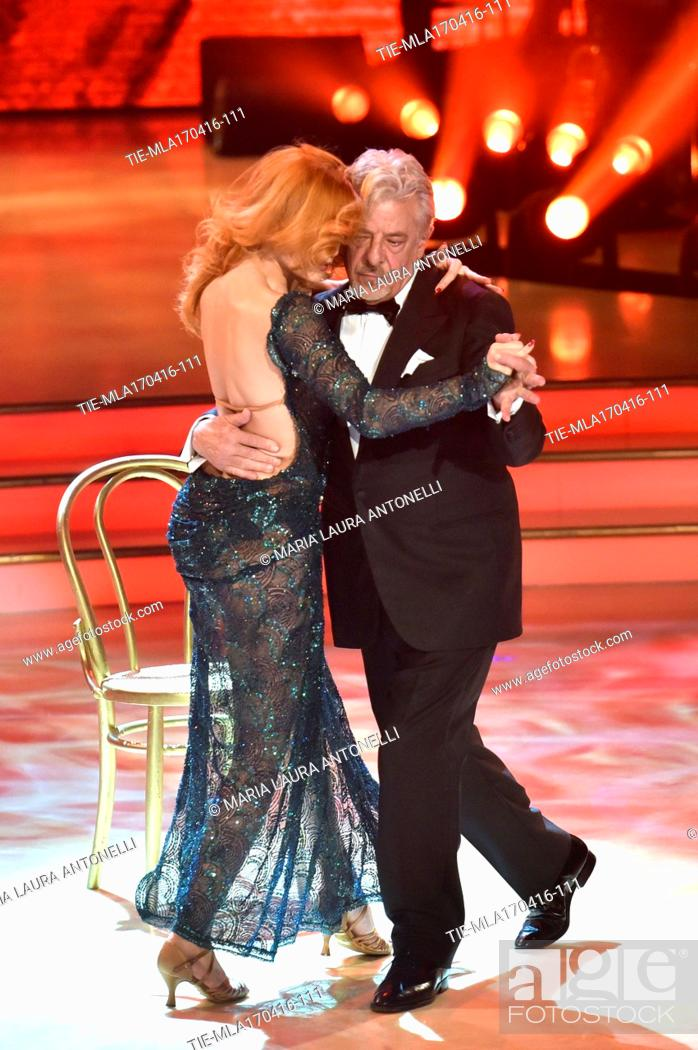 Stock Photo: The actor Giancarlo Giannini during the performance at the tv programme Dancing with the stars, Rome, ITALY-18-04-2016.