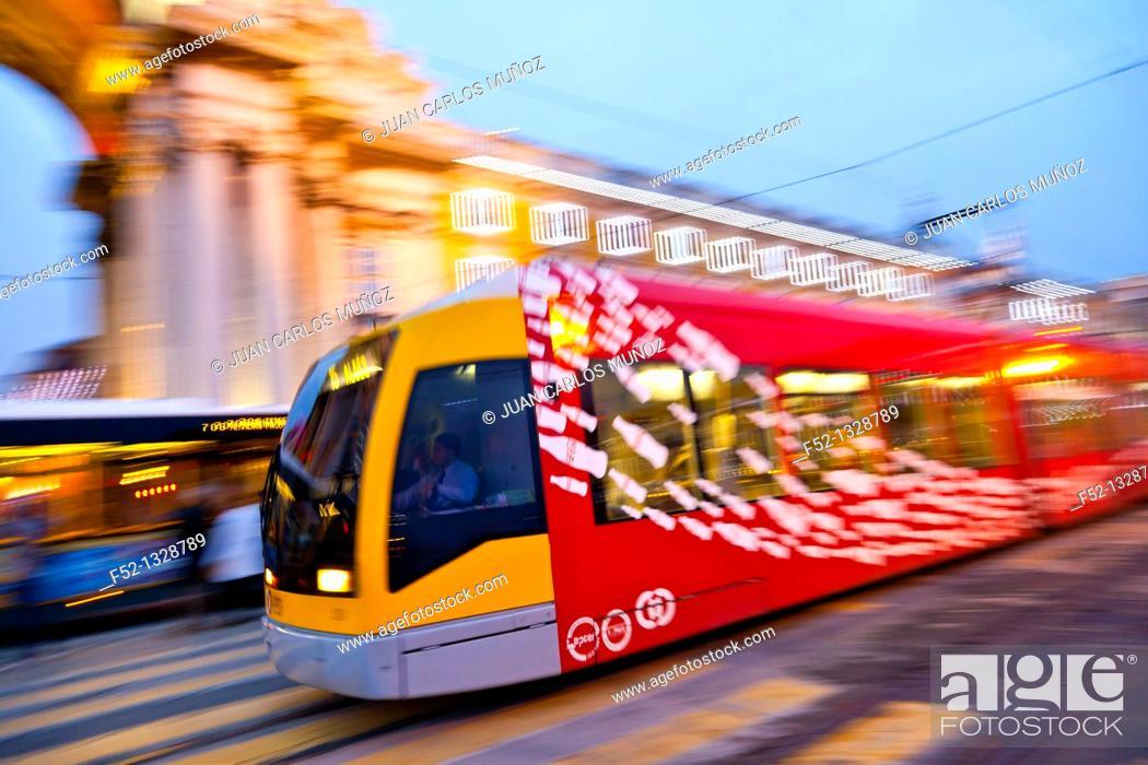 Stock Photo: Modern tram, Baixa district, Lisbon, Portugal.