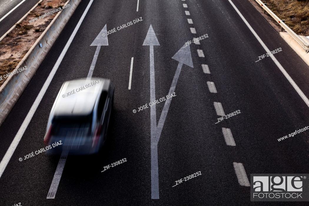 Stock Photo: Car, road, road, track, arrow, V-30, Valencia, Spain.