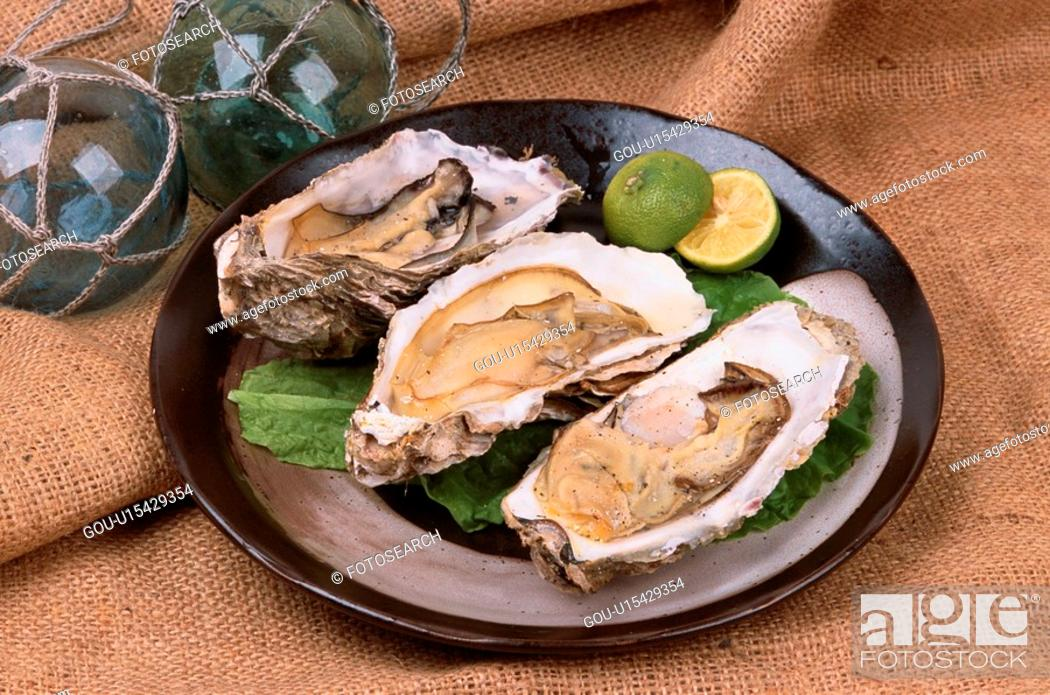 Stock Photo: Plate Of Oysters.