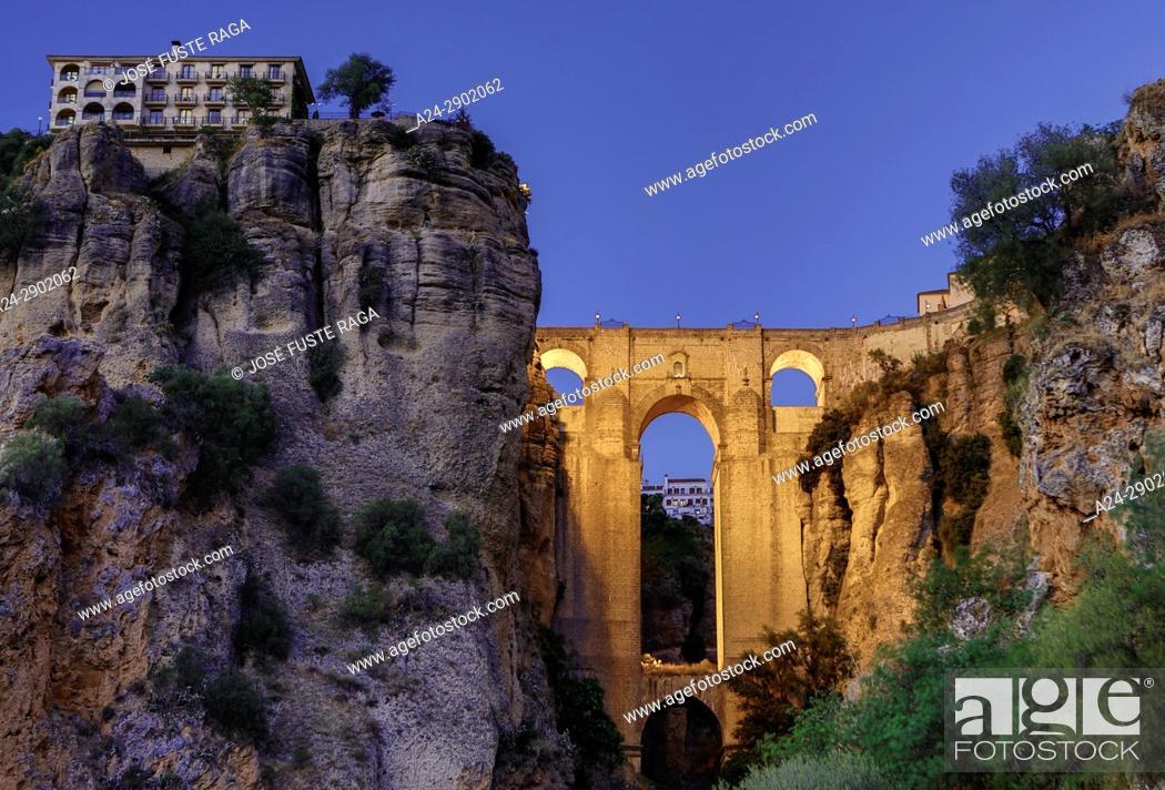 Stock Photo: Spain, Andalucia,, Malaga Province, Ronda , El Tajo de Ronda Bridge.
