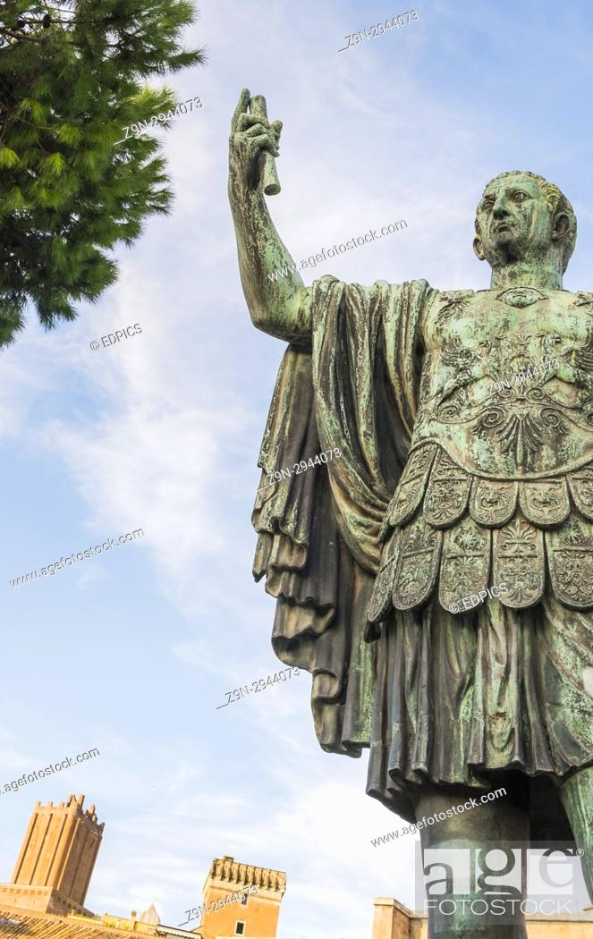 Stock Photo: bronze statue of gaius julius caesar, trajan's forum, rome, lazio, italy.