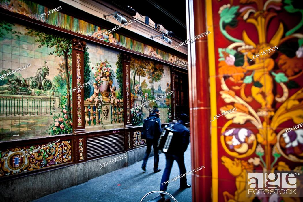 Stock Photo: Decoration in Calle de Alvarez Gato street, ¨Callejon del Gato¨, Barrio de las Letras district, Madrid, Spain.