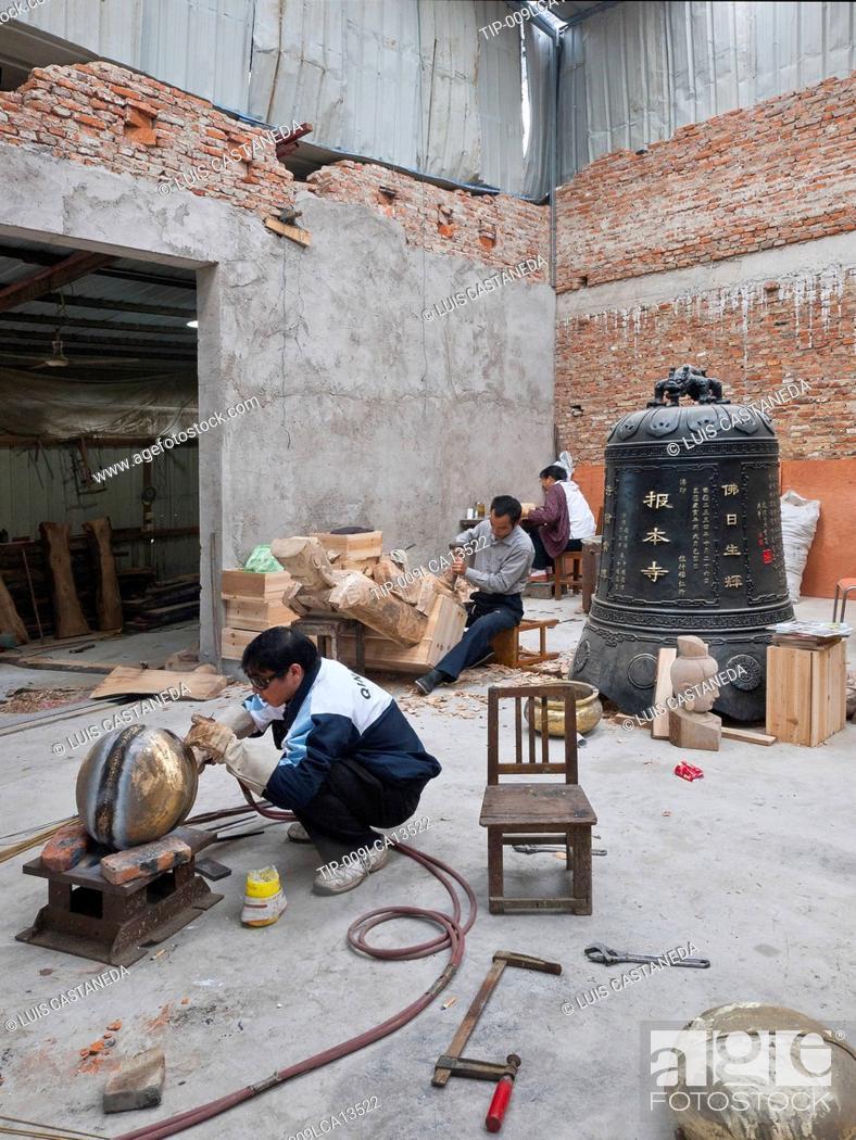 Stock Photo: China, Suzhou, wood carving workshop.