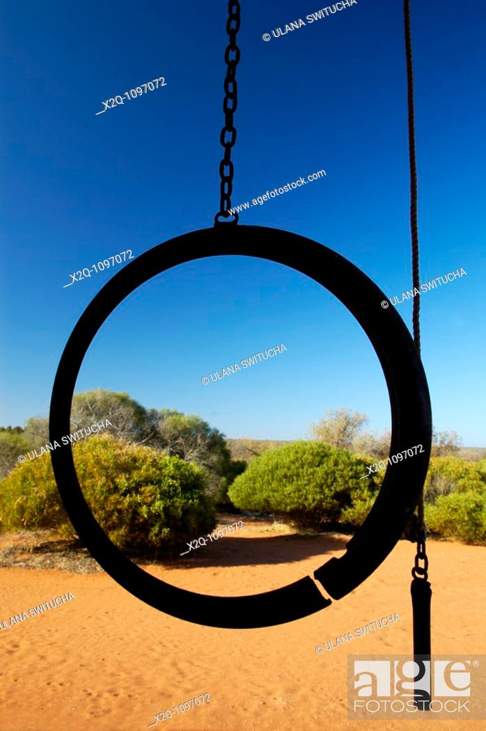 Stock Photo: Dinner bell at an abandoned homestead in the outback of Western Australia.