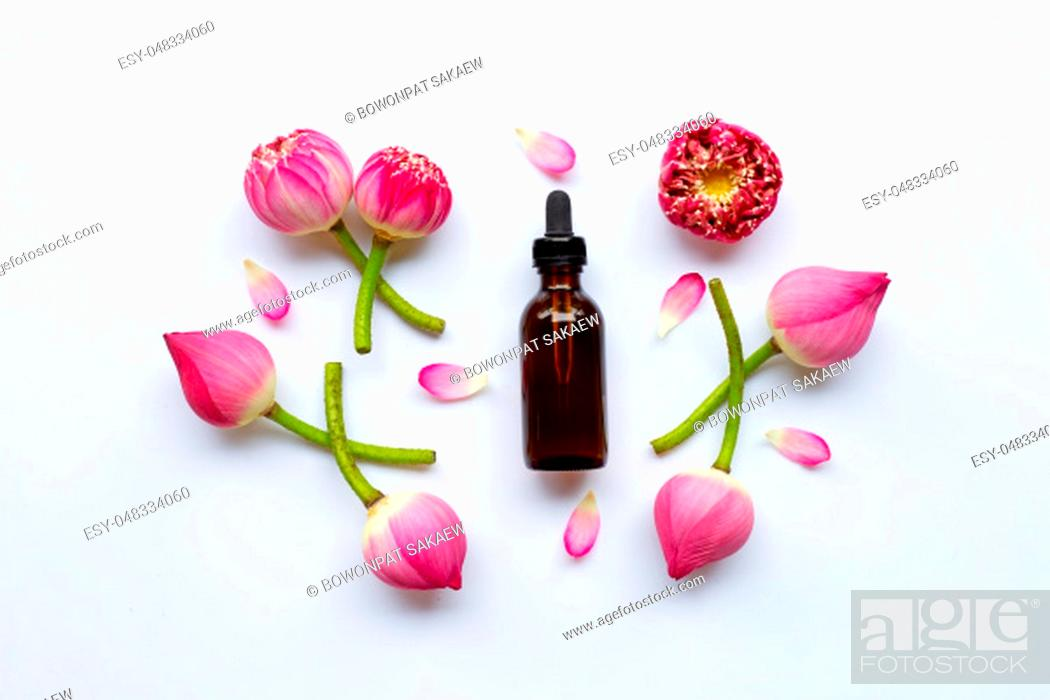 Stock Photo: Lotus essential oil with lotus flowers on white background.