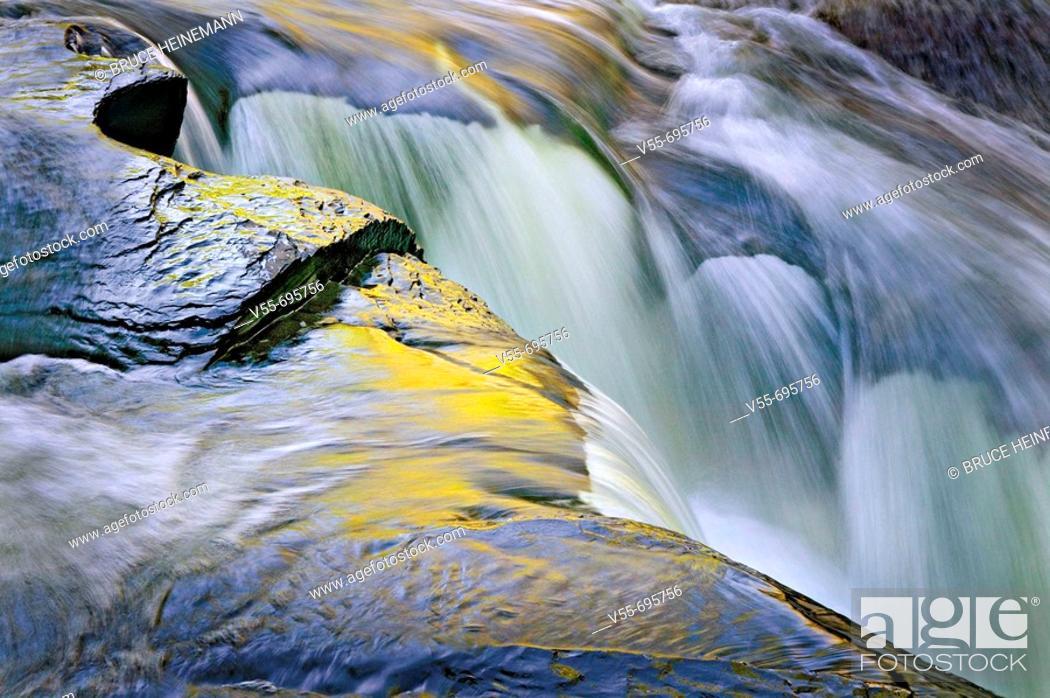 Stock Photo: Small waterfall cutting through rocks at Preseque Isle Falls, Porcupine Mt. Wilderness State Park, Upper Peninsula Michigan, USA.