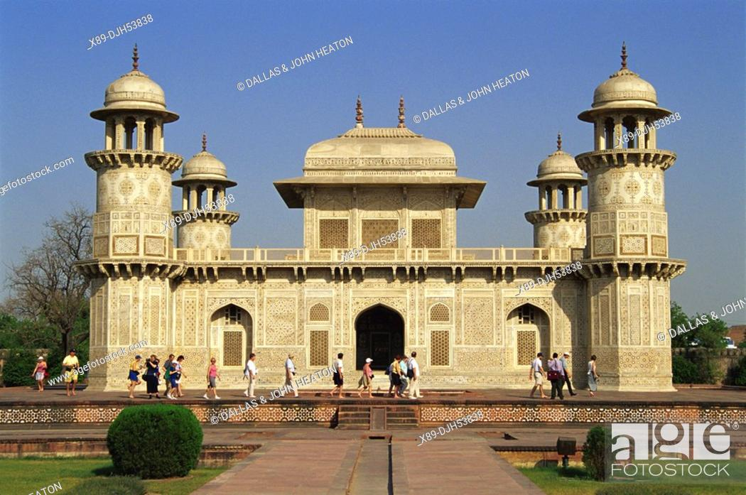 Stock Photo: Asia, India, Agra, Little Taj Mahal, Tomb of Itimad-ud-Daulah.