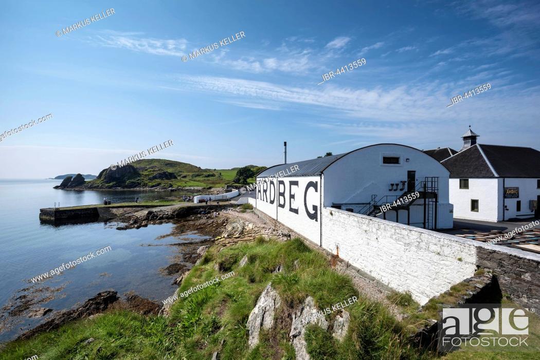 Stock Photo: Ardbeg whiskey distillery, storehouse, Islay, Inner Hebrides, Scotland, United Kingdom.
