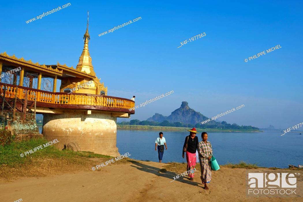 Stock Photo: Myanmar (Burma), Karen state, Hpa-an, Shweyinhmyaw pagoda.