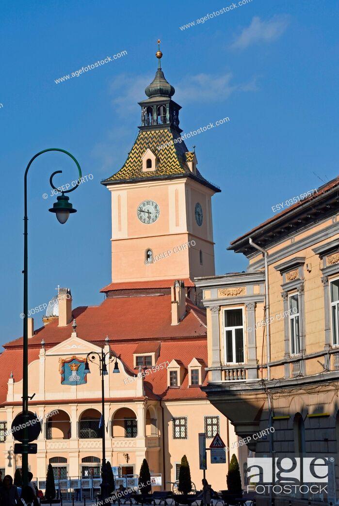 Stock Photo: Former City Hall of Brasov, called Council House (Casa Sfatului) at Council Square, Transylvania, Romania.