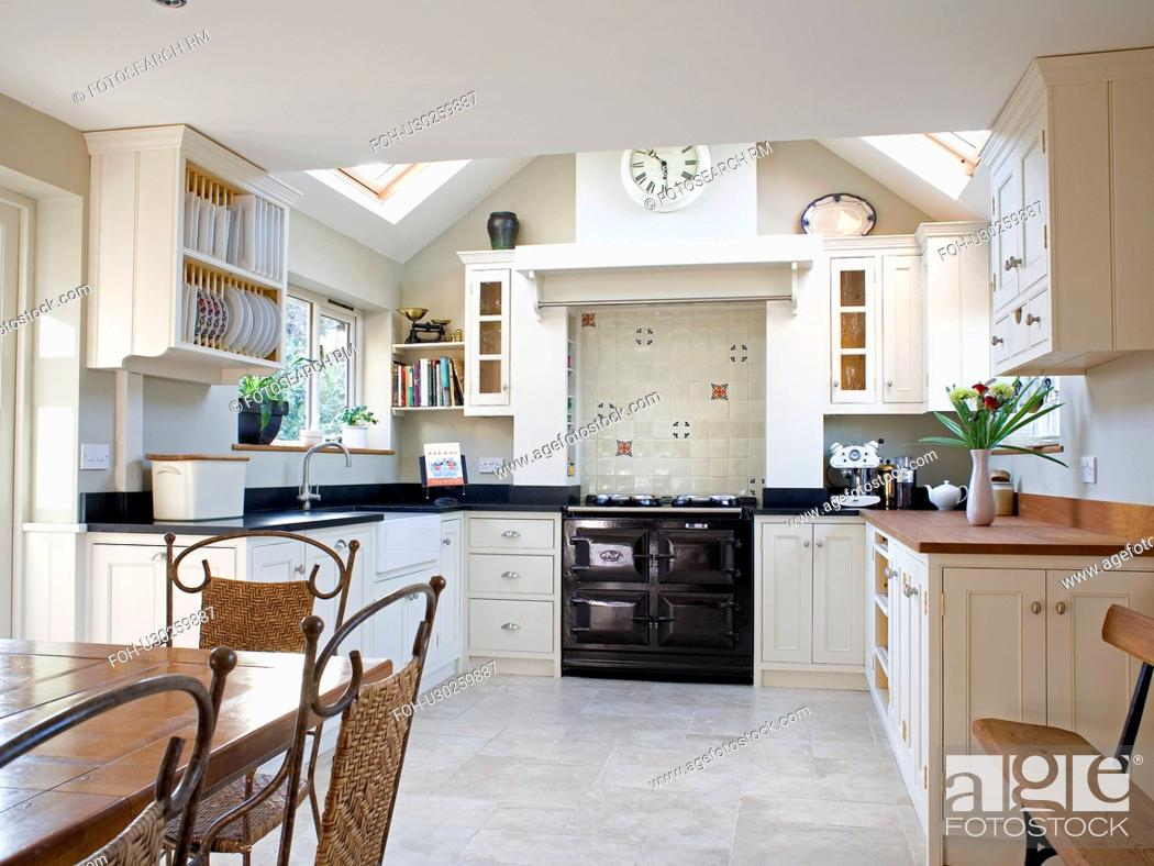 Black Aga Oven In Cream Country Kitchen Extension With Ceramic